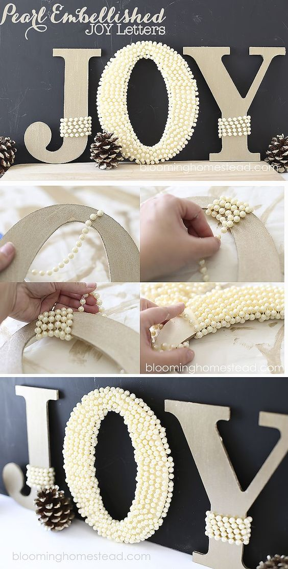 DIY Pearl Embellished JOY Letters.