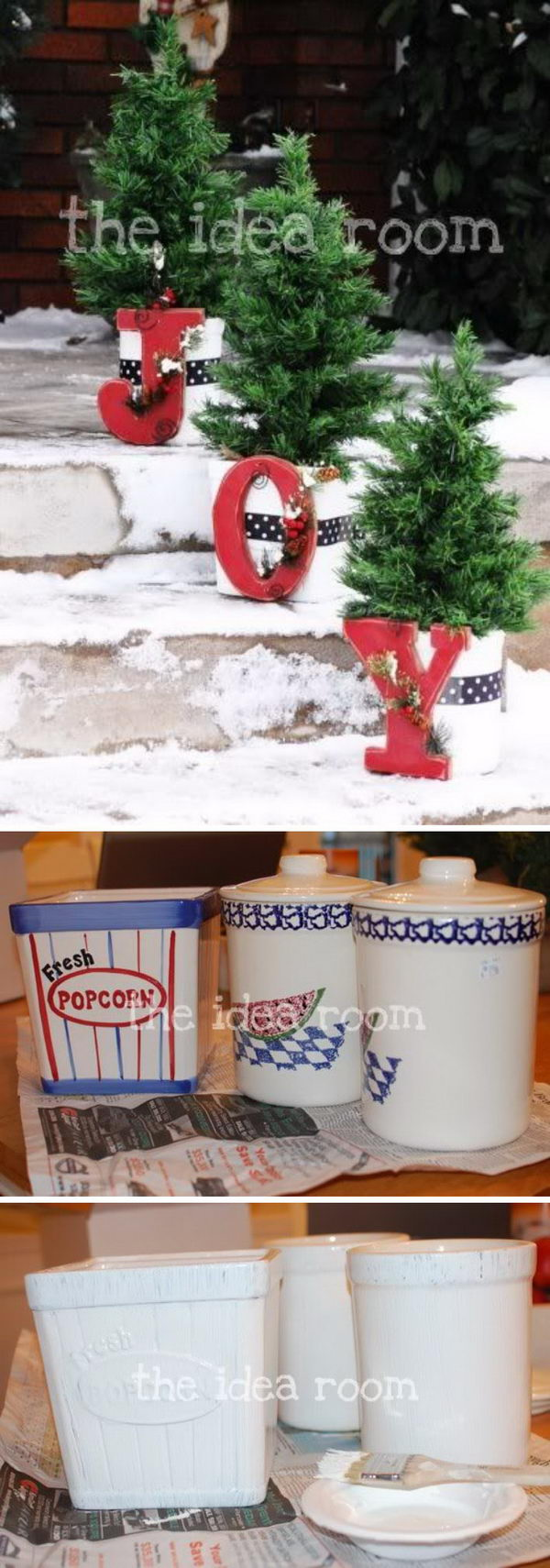 Front Porch Decor Planters with Little Trees and Bright Red 'JOY' Letters .
