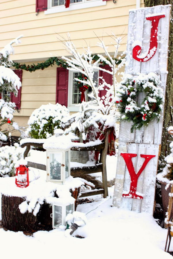 Joy Sign Made from Pallet Wood for Outdoor Christmas Decor.