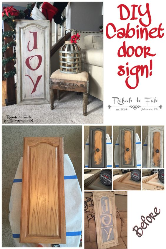 DIY Christmas Joy Sign Made from a Old Kitchen Cabinet Door.