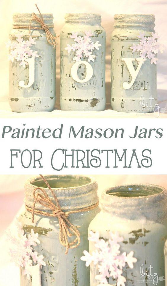 Painted Snowy Mason Jars with Joy Sign.