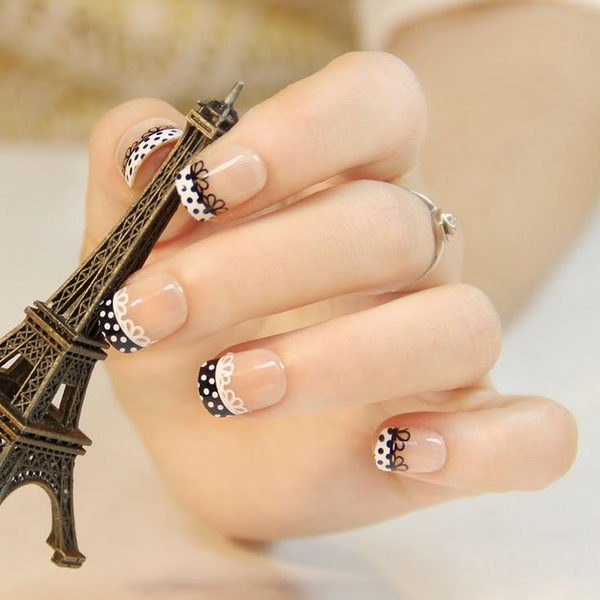 Lace and Polka Dots Nail Design.