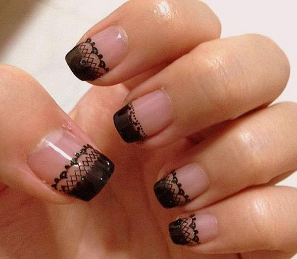 Neat Black Lace Nails.