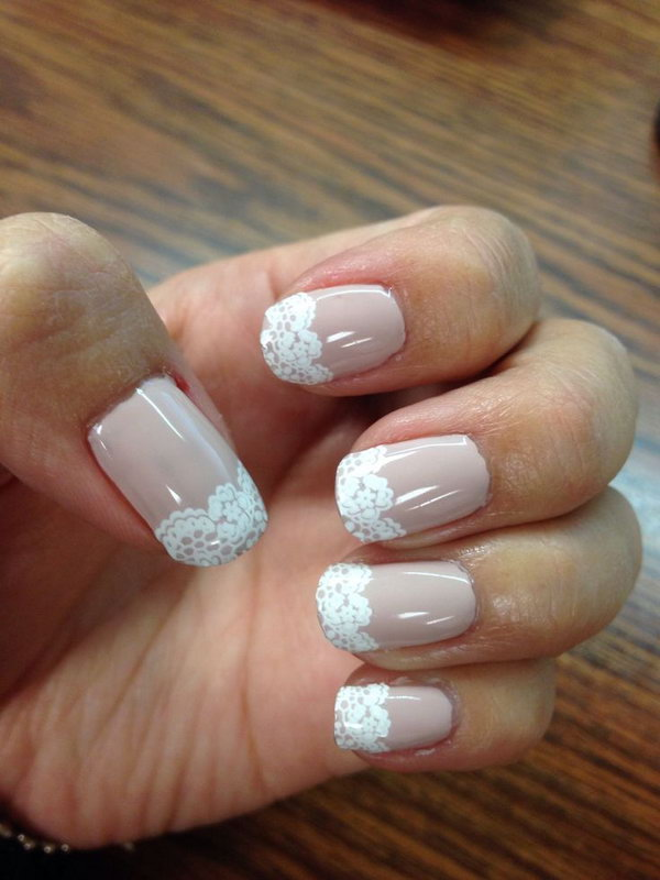Girly White Lace Nails.