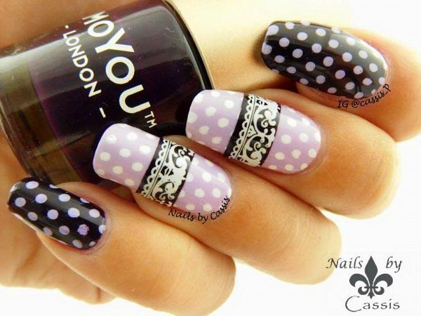 Girly Purple Polka Dots and Lace Nail Art.
