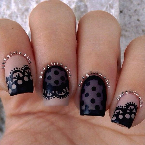 Black Lace and Dots Nail Design.