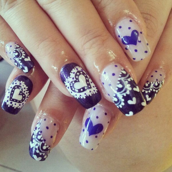Lace and Hearts Accent Nails.