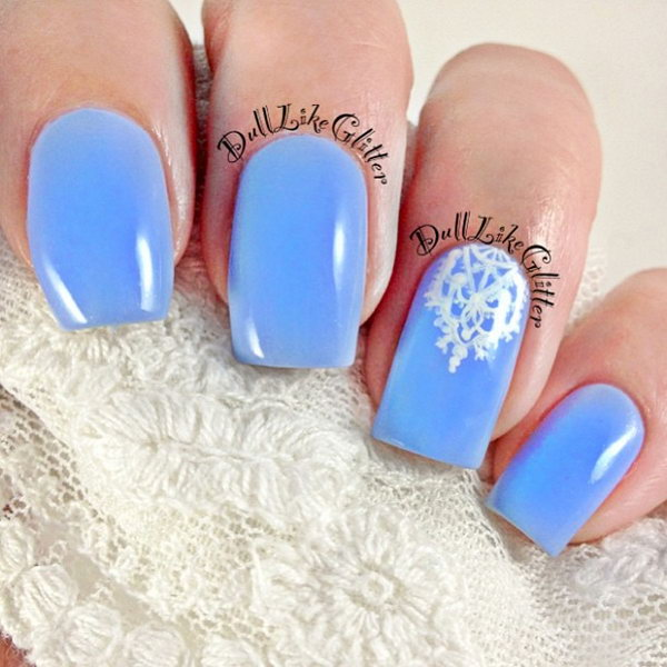 Blue Nails With White Lace Accent.