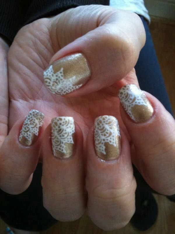 Gold Nails with White Lace.