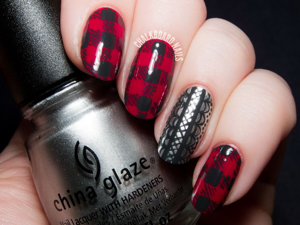 Flannel and Lace Nail Designs. See the tutorial