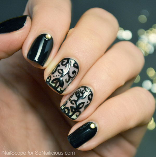 Black Lace Nail Art - 60 Lace Nail Art Designs & Tutorials For You To Get The Fashionable Look