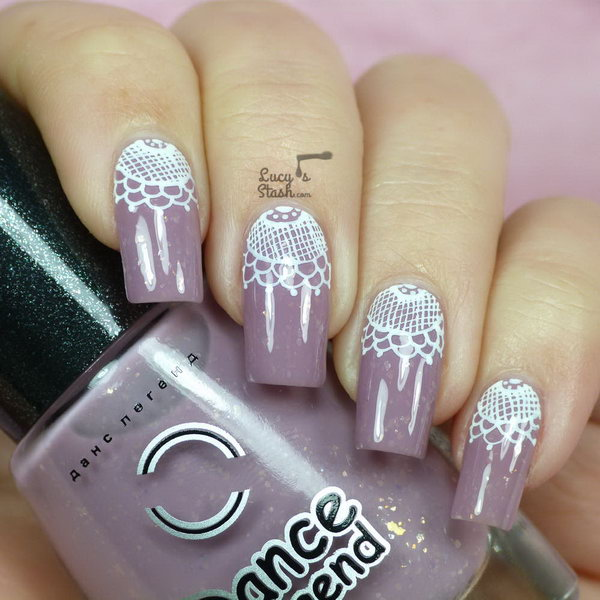 Lace Half Moon Nail Art. Get the tutorial