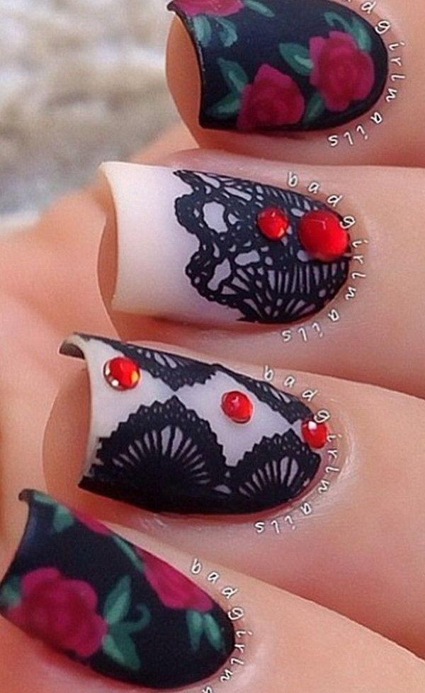 Roses & Lace Nail Art.