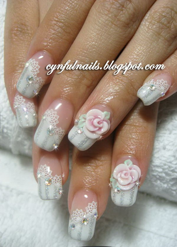 Bridal Lace and Roses Nail Design.