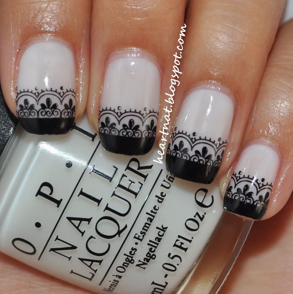 Black Lace Tips Nails.