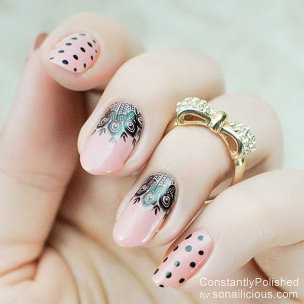 Lace Nails with Polka Dots.
