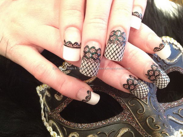 French Tip Acrylic Nails With Black Lace.