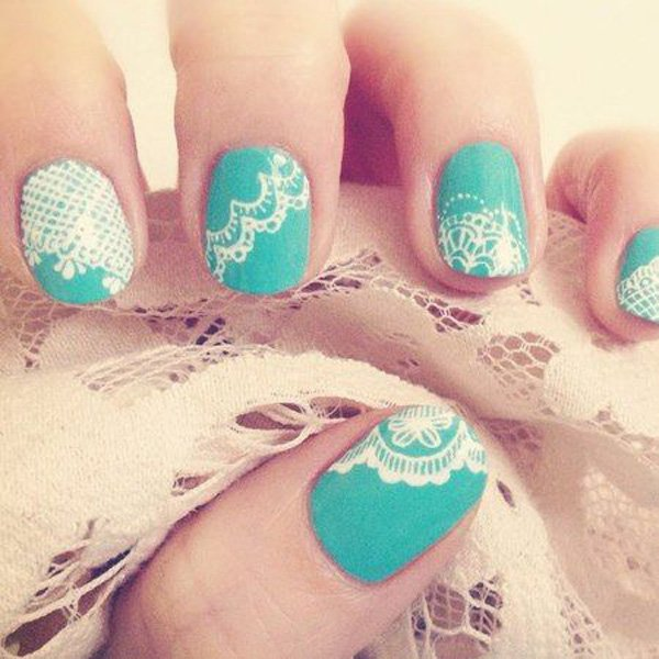 Green and white Lace Nails.