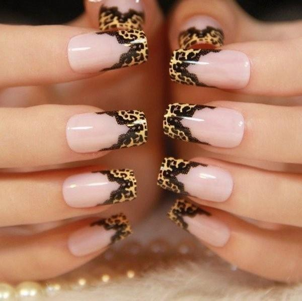 Animal Print and Black Lace Nails.