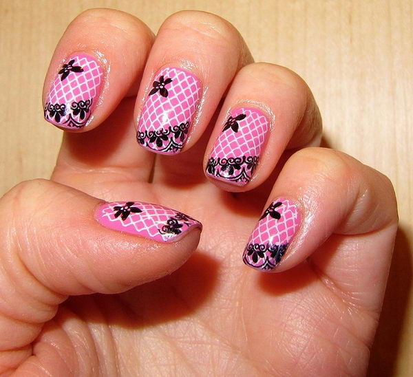 Pink Nails with Lace and Grid.