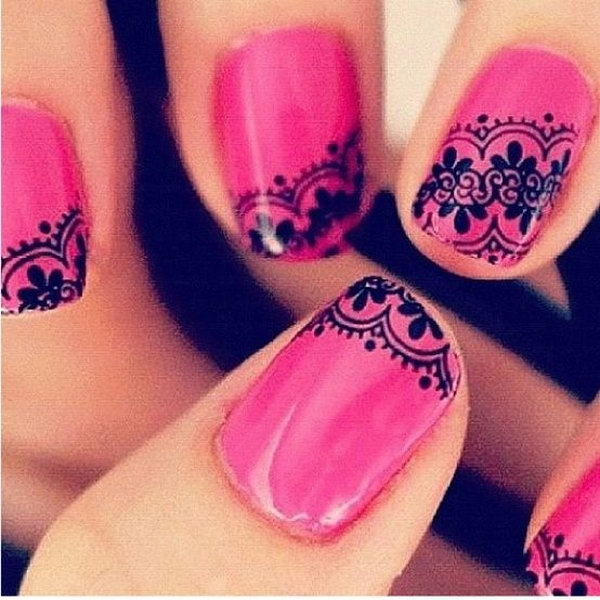 Hot Pink Embellished with Black Lace Manicure.