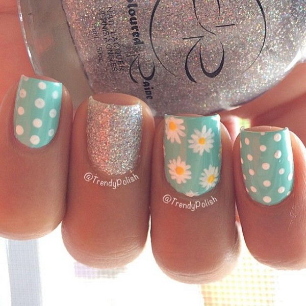 Flowers, Glitter and Polka Dots Nail Art. A perfect nail design for spring season.