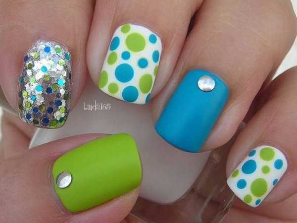 Green and Blue Polka Dot Nail Designs.