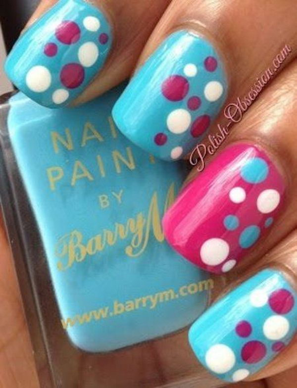Sky Blue, Pink and White Polka Dot Nail Art Designs.