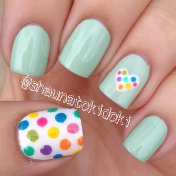 Rainbow Polka Dot Nail Designs.