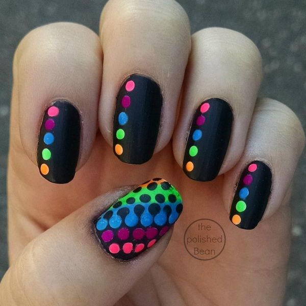 Cute Neon Polka Dot Nail Art - 50+ Stylish Polka Dots Nail Art Designs