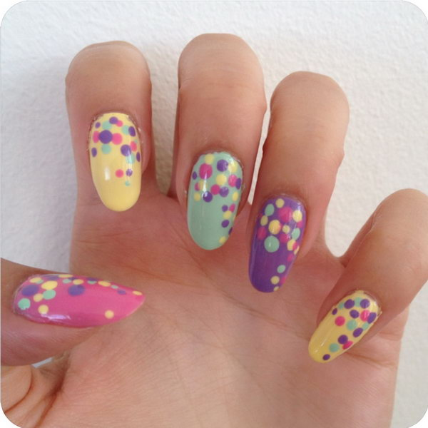 DIY Polka Dot Nails. Check out the tutorial about how to DIY this adoraable polka dot nail