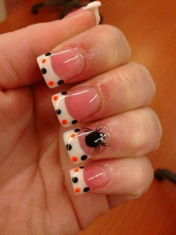 Polka Dots French Nails with Spider Accent.