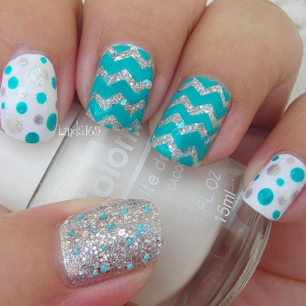 Polka Dots and Cheveron Nail Art .