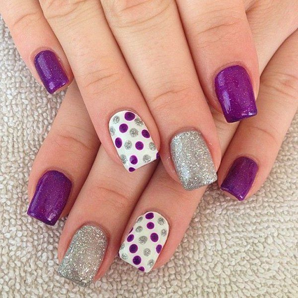 Purple and Sliver Glitter Polka Dot Nails.