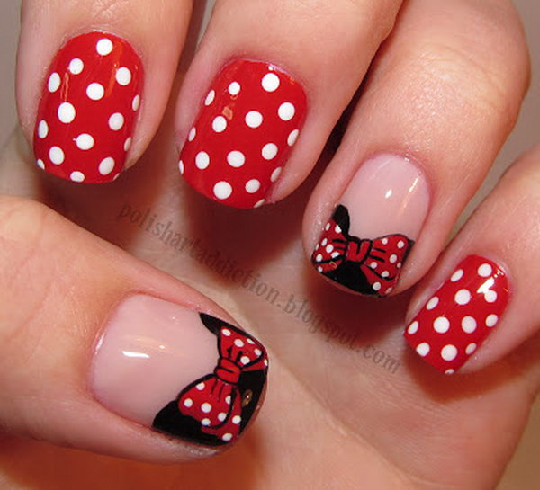 Minnie Mouse French and Polka Dots Nail Art.