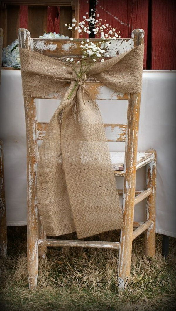 Burlap Chair Decoration.