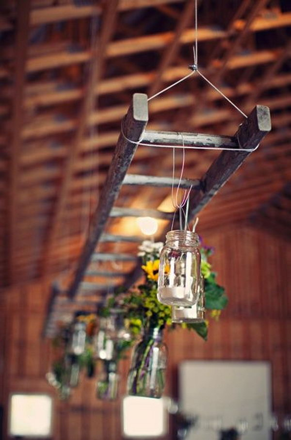 Hanging Ladder With Mason Jar Lights.
