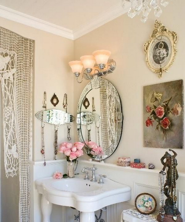Beautiful Shabby Chic Bathroom Decorating With Flowers