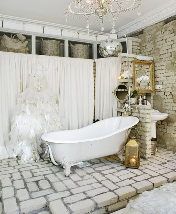 shabby chic bathroom bathroom. Shabby Chic Bathroom With Brick Wall And Floor