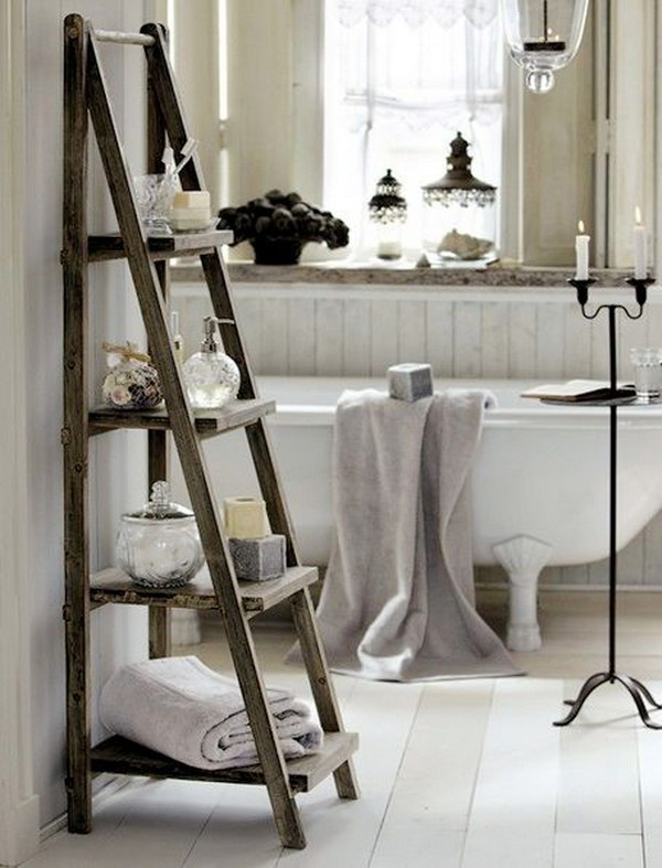 shabby chic bathroom with ladder for storage