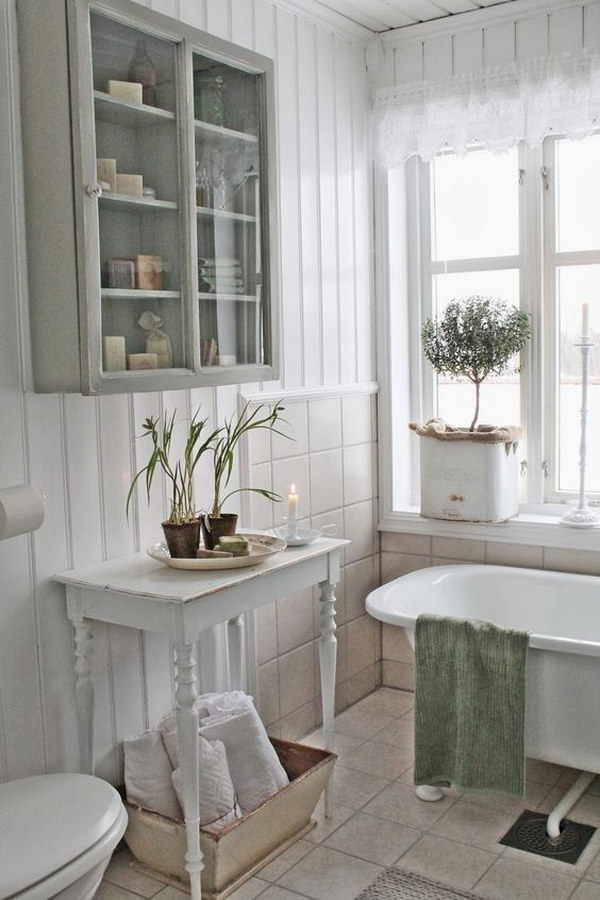 All White Shabby Chic Bathroom