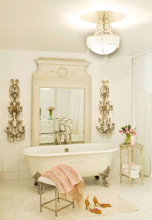 French Chic Bathroom With Gorgeous Lighting