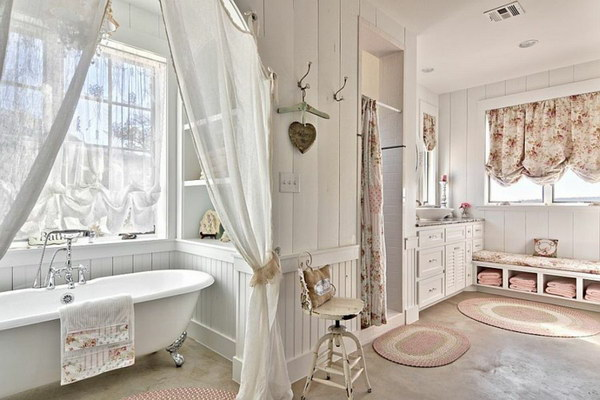Comfy Shabby Chic Bathroom In White With Claw Foot Bathtub