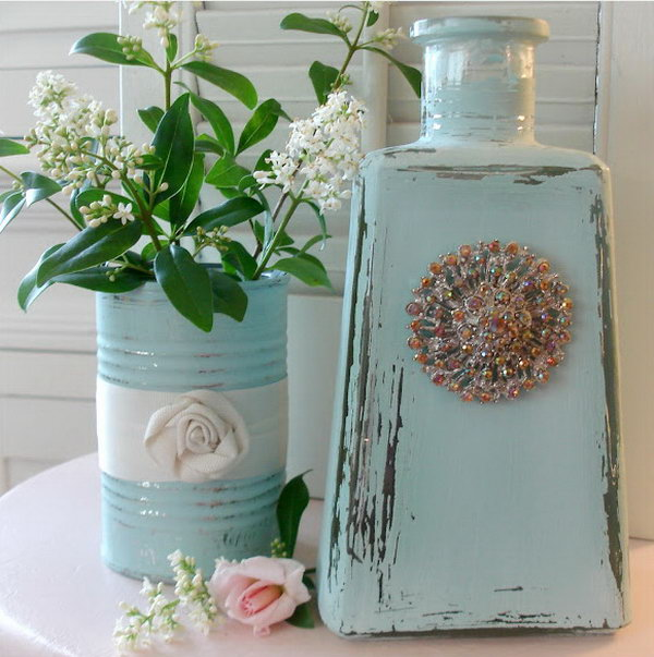 Repurposed Glass Bottle And Tin. See more
