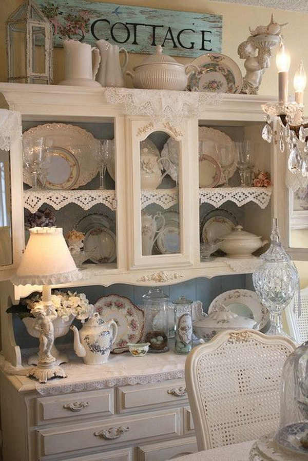 Shabby Chic Dining Room Ideas Part - 42: Shabby Chic Kitchen Cabinet In Dining Room