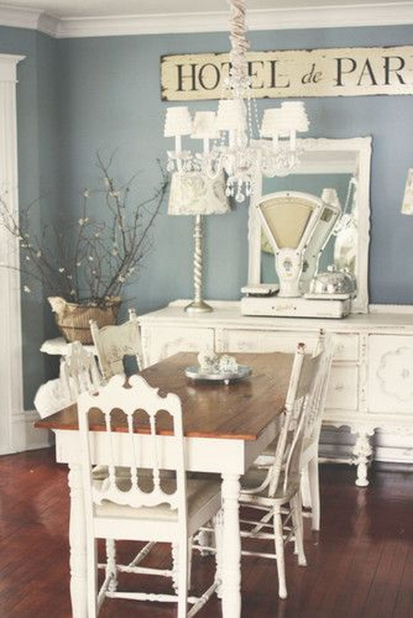 Lovely Shabby Chic Dining Room Ideas Part - 12: Shabby Chic Paris Blue And White Dining Room