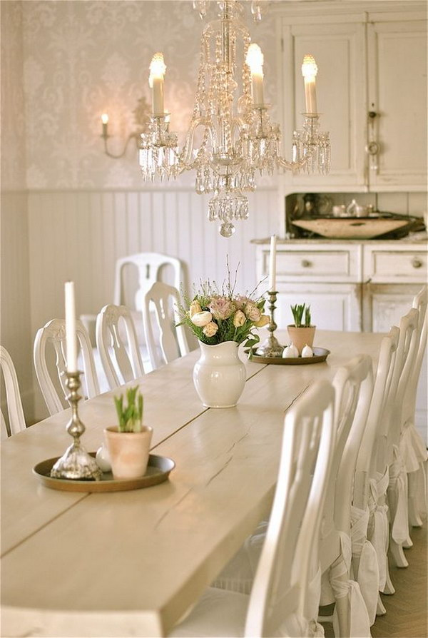 Shabby Chic Dining Room With White Chairs, Chandelier And Awesome Hutch