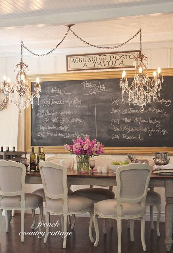 Romantic Dining Room With Chalkboard And Chandelier.