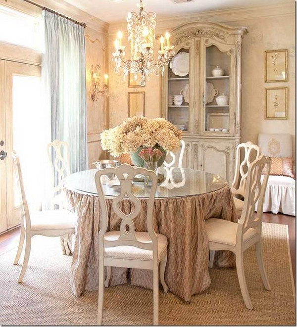 French Country Chandelier Dining Room Shabby Chic