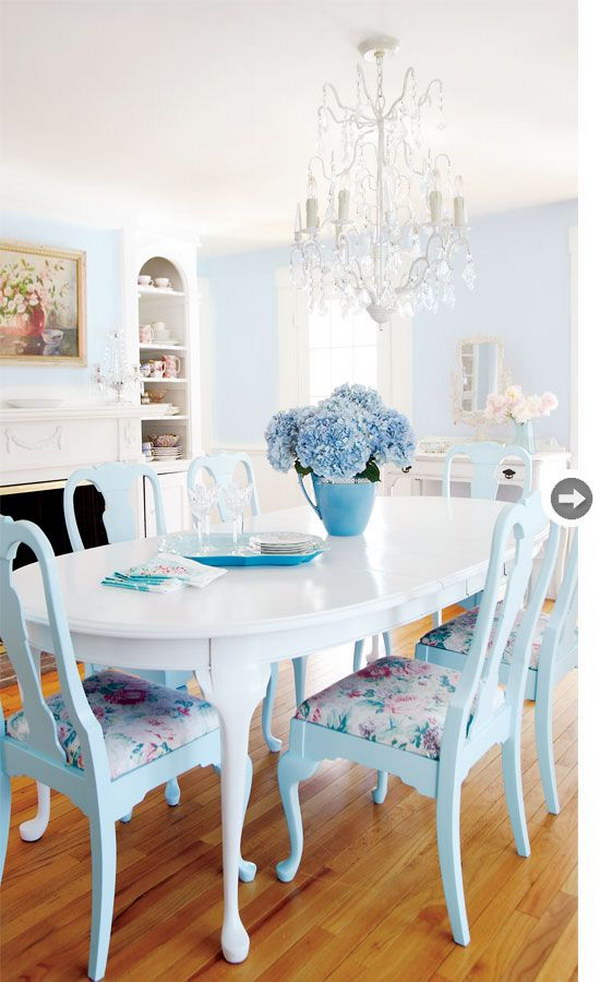 Blue And White Shabby Chic Dining Room